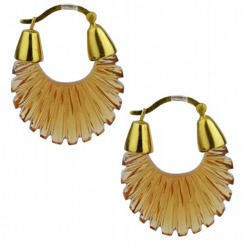 Ettienne - Glass Hoop Earrings - Champagne Amber